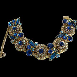 Vintage Juliana Blue Five Link Bracelet, Best Quality by DeLizza & Elster