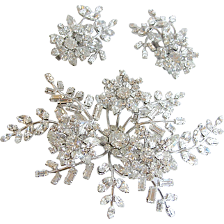 Clear Austrian Crystal Rhinestone Massive Floral Spray Brooch and Earring Set