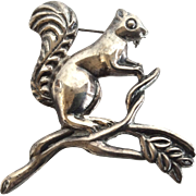Vintage Large Sterling Squirrel Figural Pin, Mexico