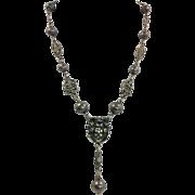 Vintage 925 Sterling Renaissance Revival Crown Pendant Necklace