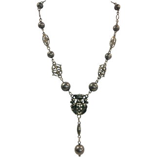 Vintage 925 Sterling Renaissance Revival Crown Pendant Necklace