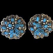 Jonné Agua Glass Bead Hand Wired Filigree Earrings, 1950s