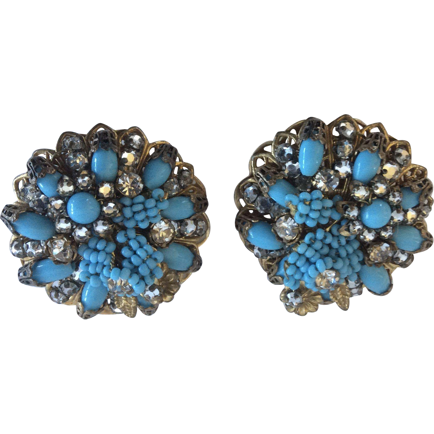 Jonné Agua Glass Bead Hand Wired Filigree Earrings, 1950s