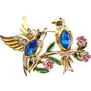 Coro Bluebirds on a Branch Pin with Enamel Flowers