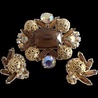 Juliana Taupe Brown & Aurora Borealis Rhinestone & Filigree Bead Pin and Earring Set