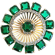 Vintage Retro Style Green Princess Cut Rhinestone Pin