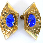 Vintage Miriam Haskell Egyptian Revival Lapis Glass Earrings