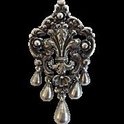 Peruzzi, Florence 800 Silver Vintage Fleur-de-lis Pin/Pendant
