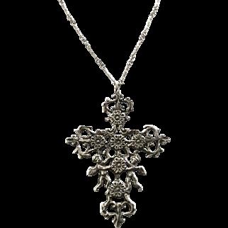 Sterling Cherub Renaissance Revival Cini Style Pendant on Sterling Chain