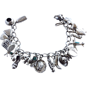 Sterling Vintage Western America and Sweetheart  Charm Bracelet – 22 Charms