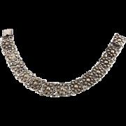 European 835 Antique  Silver Repoussé Link Bracelet