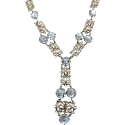 Edwardian Vintage Filigree Necklace with Blue Crystals.