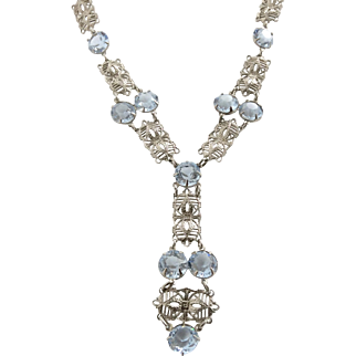 Edwardian Vintage Filigree Necklace with Blue Crystals.