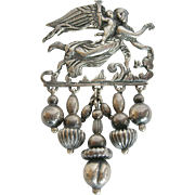 800 Silver Angel and Cherub Pin
