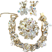 Juliana Vintage Clear Rhinestone Bracelet, Pin and Earring Parure Book Piece