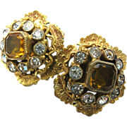 Sandor vintage topaz glass Renaissance Revival style earrings