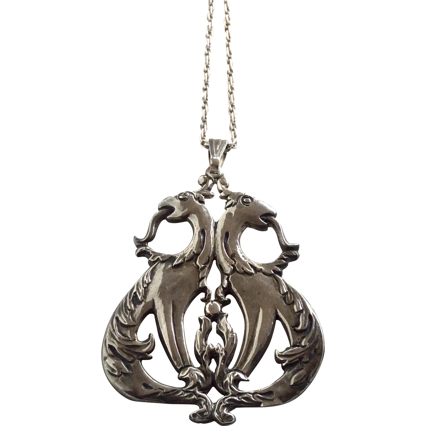 Sterling  Silver Vintage Mythical Creature Pendant