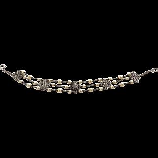 Sterling Filigree Heraldic Themed Multi Chain Imitation Pearl Bracelet