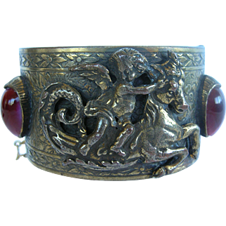 Brass 1940s Victorian Revival Style Cuff with Cupid Riding a Mythical Horse