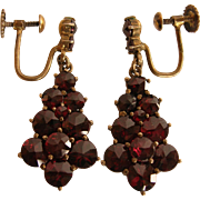 Bohemian Rose Cut Garnet Sterling Vermeil Earrings