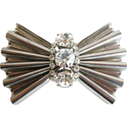 Vintage Large Retro Style Rippled Bow and Rhinestone Brooch, Pin