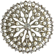 Large Vintage Imitation Pearl and Rhinestone Brooch