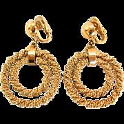 Trifari 1950s Twisted Gold-tone Double Hoop Dangle Earrings