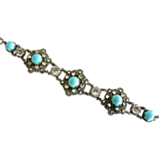 Czech Aqua Glass Cabochon Filigree Bracelet