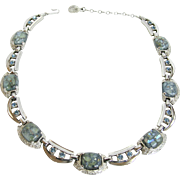 Sherman Veined Blue Art Glass Necklace