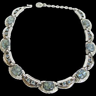 Sherman Veined Blue Art Glass Necklace