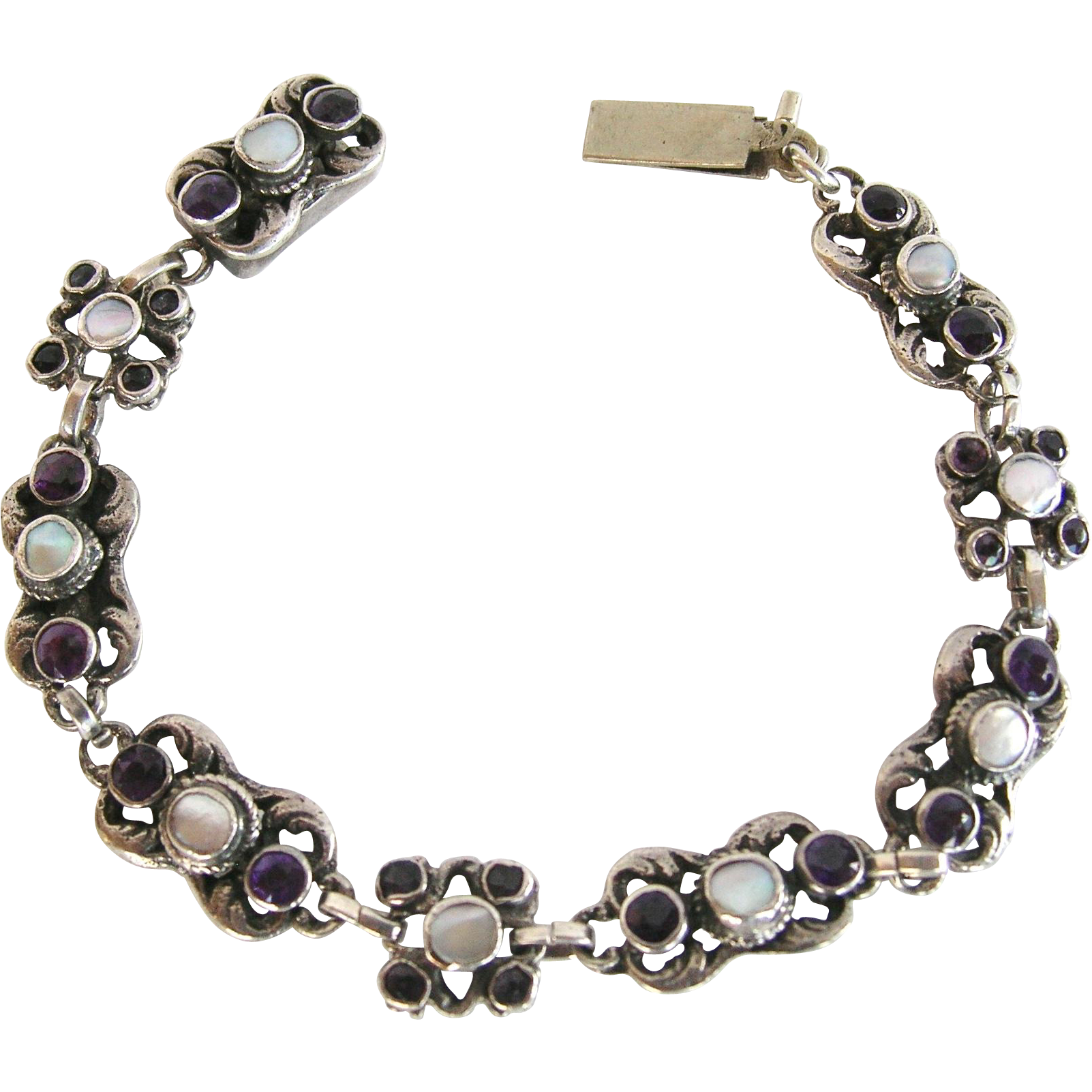 Austro-Hungarian 830 Silver Amethyst and  Pearl Bracelet