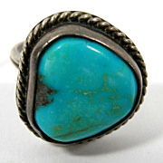 Navajo Old Pawn Turquoise Sterling Ring