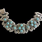 Vintage Renaissance Revival Style Aqua Chunky Link Bracelet