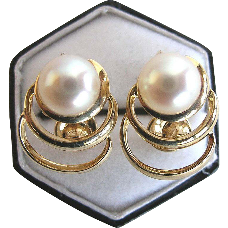 Mikimoto 14 Karat Yellow Gold and Akoya Pearl Vintage Earrings