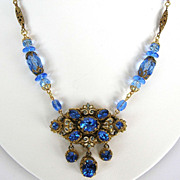Vintage Czech Filigree blue rhinestone medallion necklace with  enamel