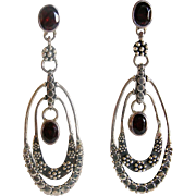 Sajen Sterling Silver Garnet Long Dangle Earrings