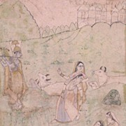 Antique Indian Miniature Painting Krishna & Gopis c1880