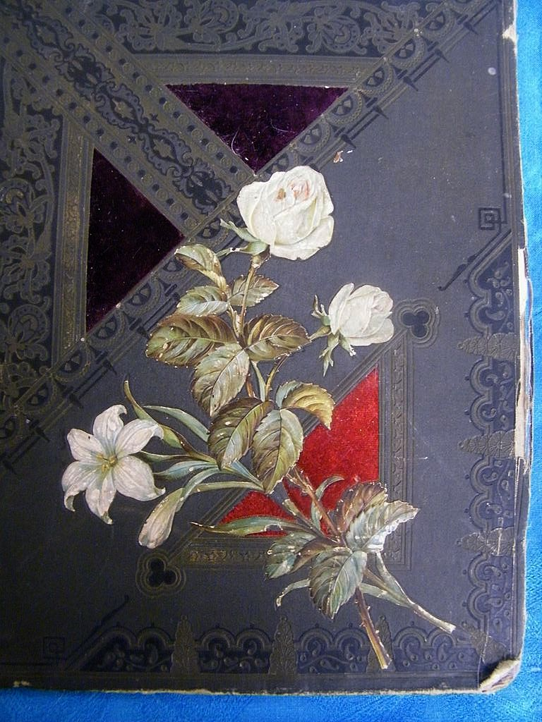 Antique Victorian Photo Album Cover..Embossed White Roses..Velvet Inserts
