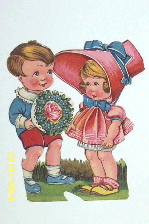 Antique Valentine Couple Ephemera..Girl In Pink Bonnet / Boy With Nosegay..Germany