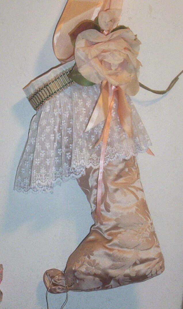 Vintage Textiles..Artisan.. Pale Peach Jacquard Silk Christmas Stocking With Pleated Lace & Silk Rose...Plus 4 More Lovely Styles