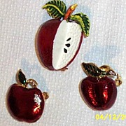 Vintage Red Apple Enamel Pins..3 Assorted Designs..For Teacher's..Holiday Gift