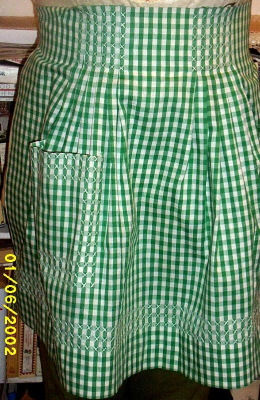 Green/White  Gingham Checked Apron With Hand Smocking