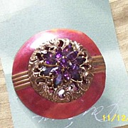 Vintage...Art Deco Style Wine Enameled Disc Al-La-Mode..With Antique Brass  Filigree Button & Amethyst Rhinestone Flower Topper
