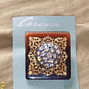 Vintage...Art Deco Style Collage Pin..Tortoise Square-& Gold Tone Filigree & Aurora Borealis Multi-Stone Center