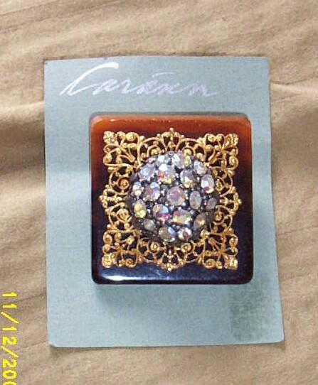 Vintage...Art Deco Style Collage Pin..Tortoise Square-& Gold Tone Filigree & Aurora Borealis Multi-Stone Center