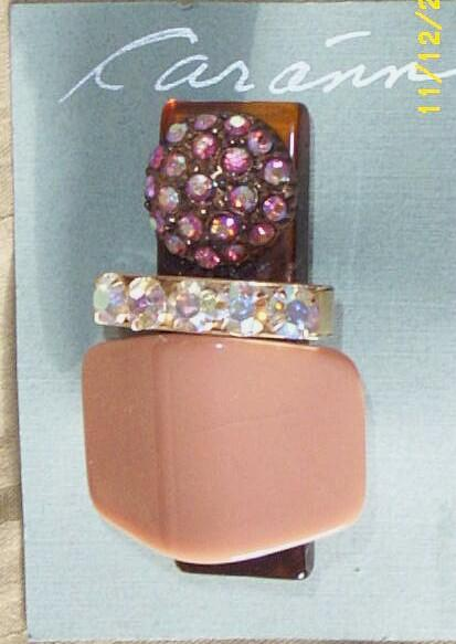 Vintage..Art Deco Style Collage Pin / Brooch..Dusty Peach Stone & Aurora Borealis Rhinestones..Interesting!!