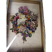 Antique Framed French Silk Flower College...One Of Two