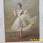Vintage ..Ballerina Oil In White Double-Tiered Carved White Wood Frame..Signed Vivian Key..A NuMold Creation