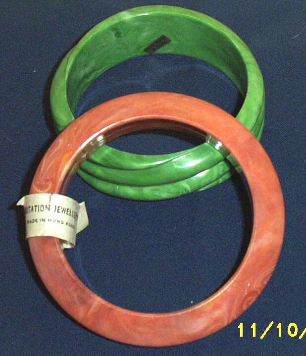 Two Vintage ...Marbleized Plastic Bangle Bracelets...Jade Green Swirl...Dusty Apricot...Hong Kong...  Set Of TWO