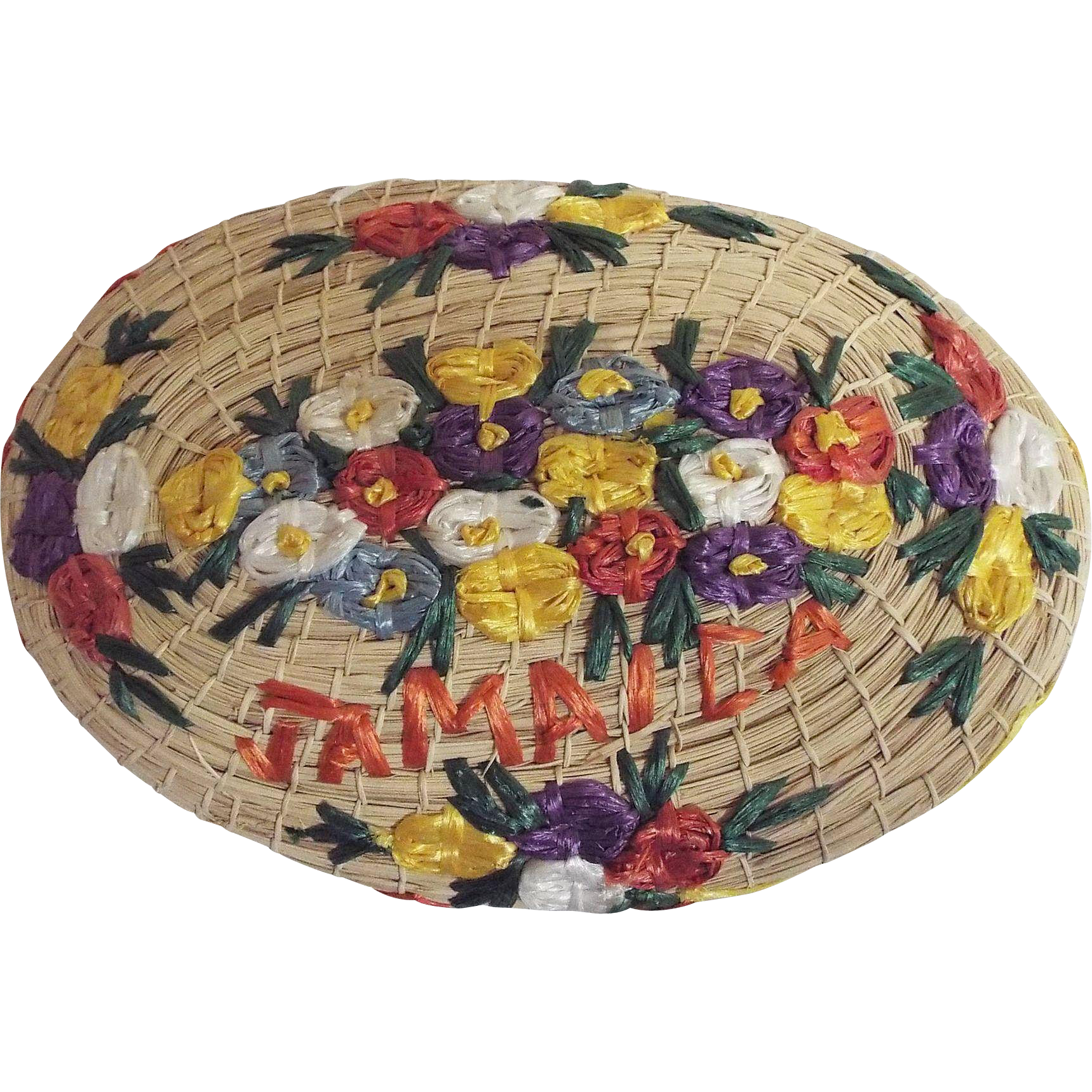 Jamaica Embroidered Floral Face Basket